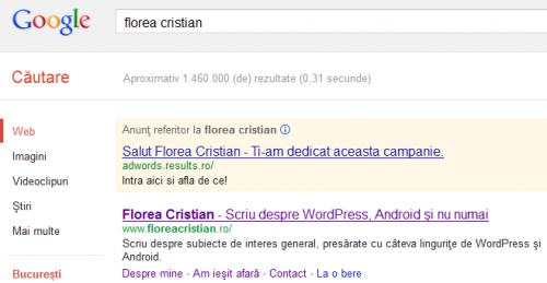 Cristian Florea pe Google