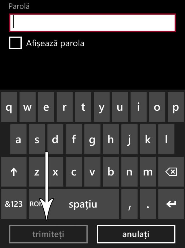 buton de trimitere windows phone 8