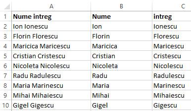 6 - cum separi numele de prenume in excel