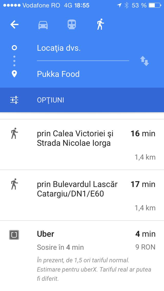 google maps si uber