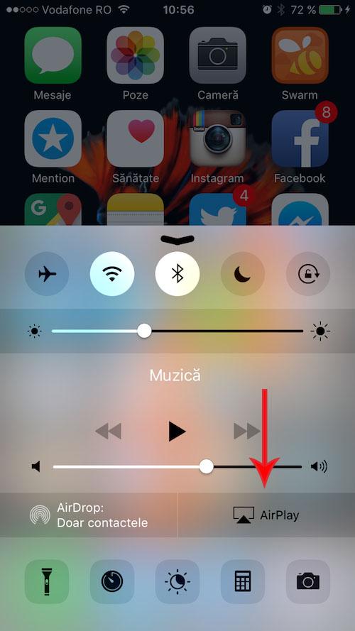 cum proiectezi ecranul iPhone-ului folosind AirPlay și conexiunea wireless1