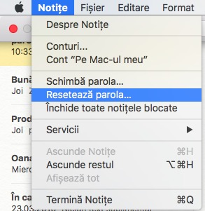 setare parola notite macbook