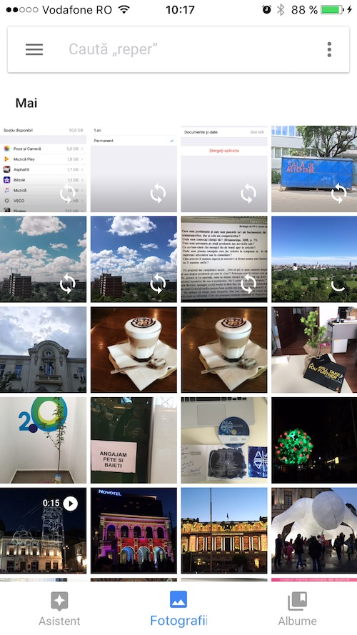 spațiu liber pe iPhone - google foto