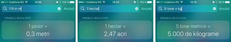 convertor de lungimi si volume - cautare de pe iPhone