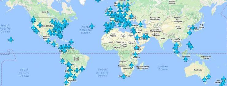 hartă cu parolele rețelelor wireless din aeroporturi