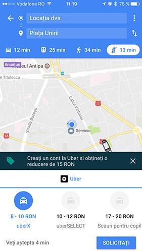 google maps - uber