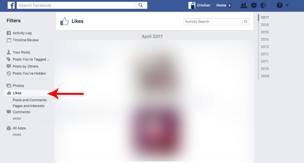 lista cu postarile la care ai dat like pe Facebook