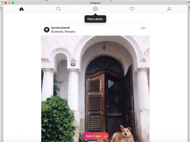 cum poti incarca fotografii pe Instagram din browserul laptopului